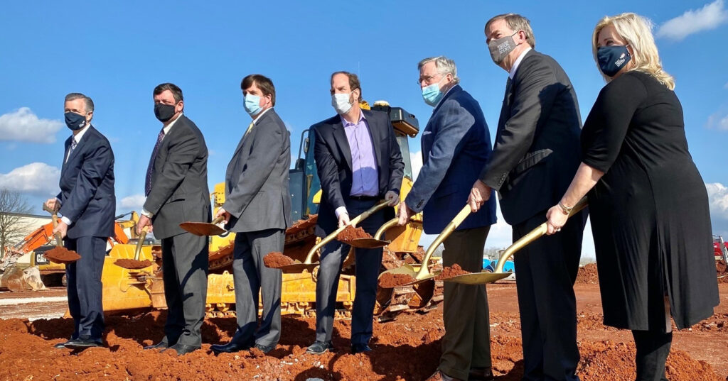 Senior Members Of Shamrock Investments Joined With Members Of The Huntsville Government To Break Ground On A New Development At The Huntsville International Airport. Photo Via City Of Huntsville, Alabama - Government On Facebook