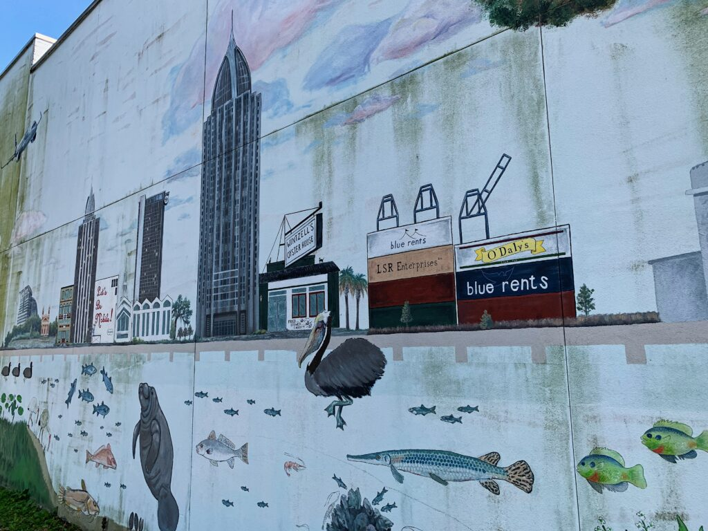 Close-Up Of Mobile Skyline On The Mural At Delta Bike Shop.