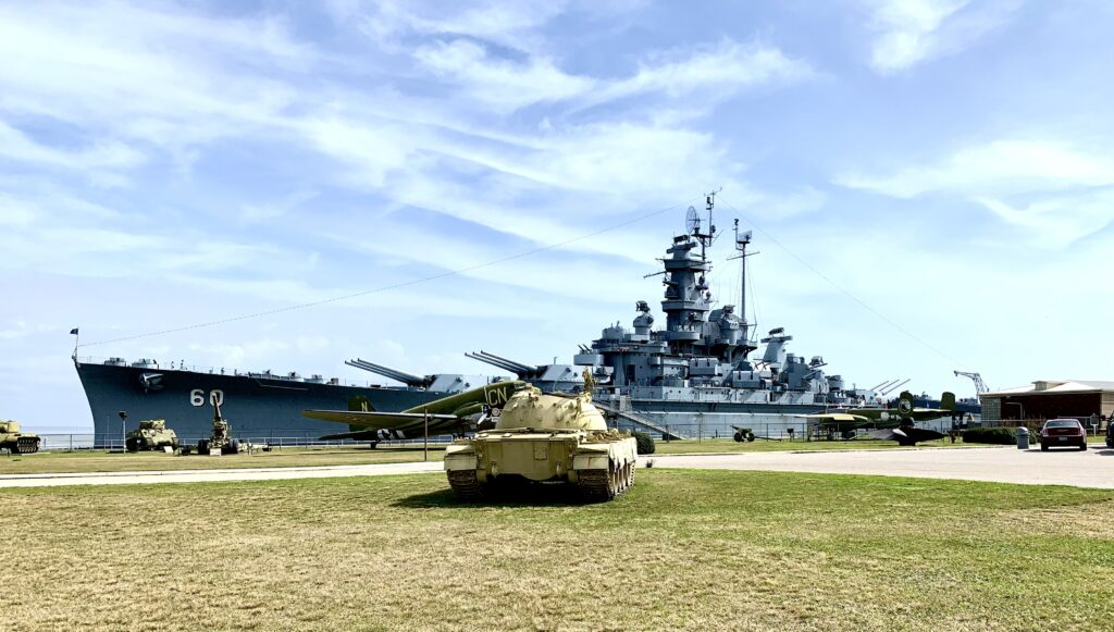 Uss Alabama With Tank In Foreground.