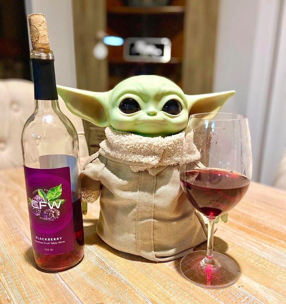 Corbin Farms And Winery Blackberry Wine And Baby Yoda