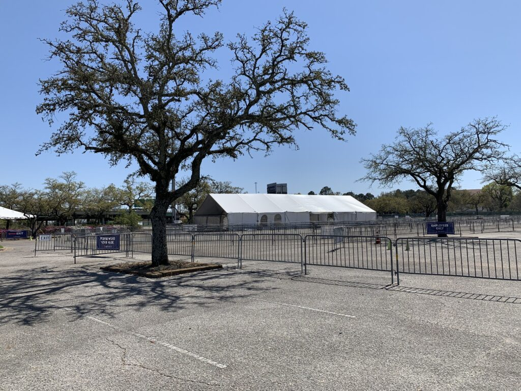 Drive-Through Vaccination Set Up At The Mobile Civic Center.
