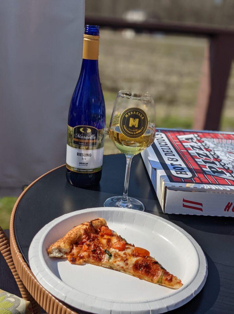 Pizza And White Wine At Maraella Vineyards And Winery