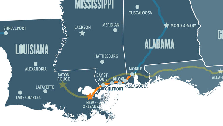Map Of Train Route From Nola To Mob