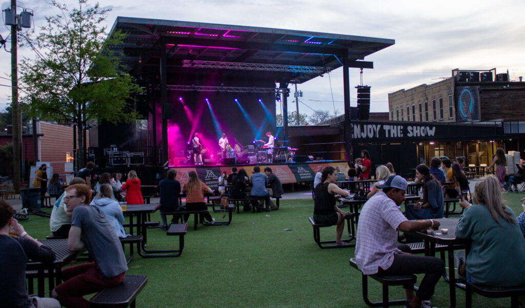 Birmingham Indie Band Resort Realism Warmed Up For Their Set In Front Of A Socially Distanced Audience. Photo Via Libby Foster For Bama Buzz