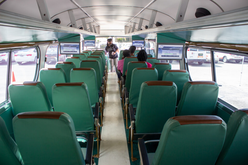 The Inside Of The Vintage Greyhound Bus. Photo By Libby Foster For The Bama Buzz.